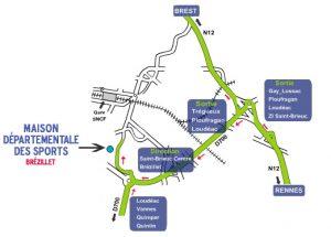 Carte pour localiser la Maison des Sports 22